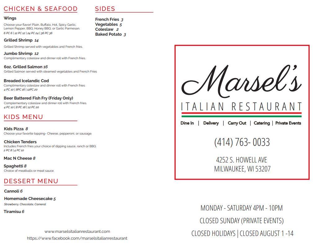 Marsel's Italian Restaurant Menu Page 1