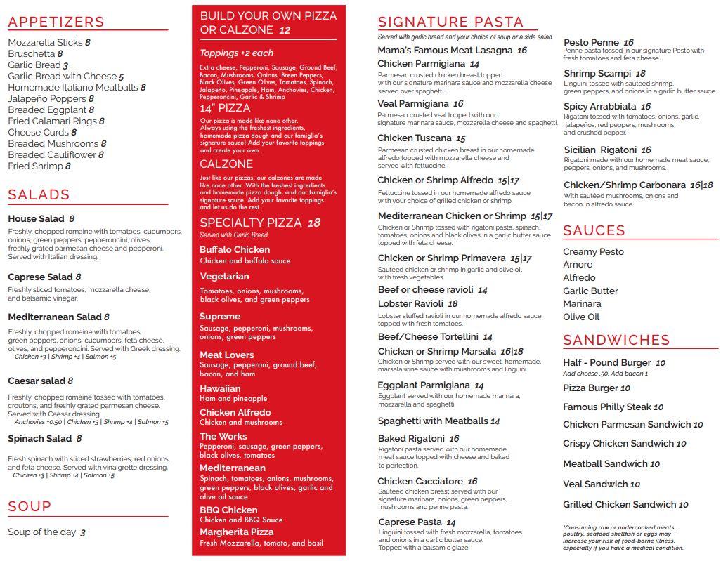 Marsel's Italian Restaurant Menu Page 2